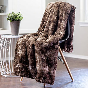 "Super Soft Luxurious Fluffy Plush Hypoallergenic Blanket (60"" x 70"") - Chocolate - EK CHIC HOME"