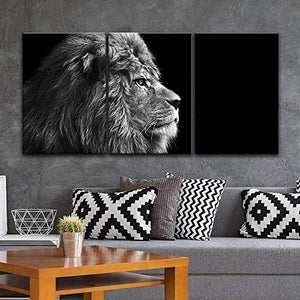 3 Panel Canvas Wall Art - Lion Head on Black Background - Giclee Print Gallery Wrap Ready to Hang - EK CHIC HOME