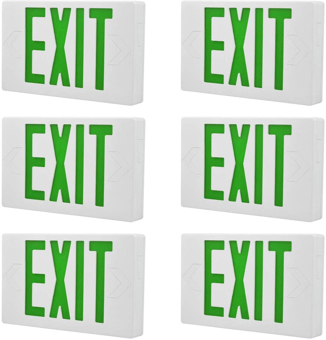 Exit Emergency Combo Light with Backup-Battery-(Green, 6 Pack) - EK CHIC HOME