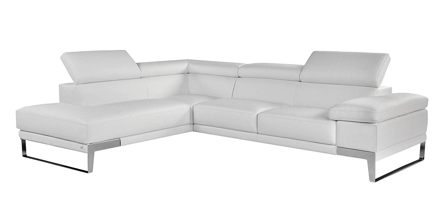 Astonishing White Premium Italian Leather Sectional Sofa Modern Contemporary Right Andrewgaddart Wooden Chair Designs For Living Room Andrewgaddartcom