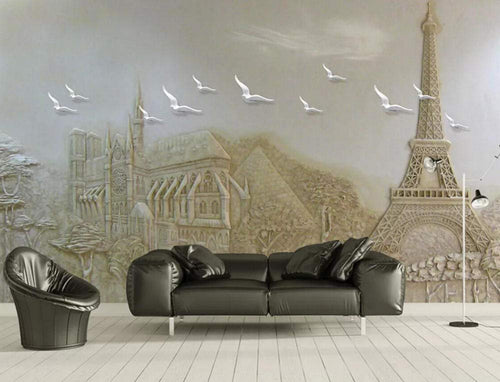 Wall Mural 3D Wallpaper Embossed Modern Minimalist Building Flying Pigeon Wall Decoration Art - EK CHIC HOME