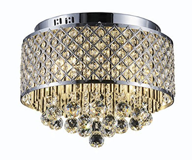 Flush Mount 4-Light Chrome Silver Crystal Chandelier - EK CHIC HOME