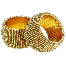 Load image into Gallery viewer, Handmade Beaded Napkin Rings, Gold (Set of 12) - EK CHIC HOME