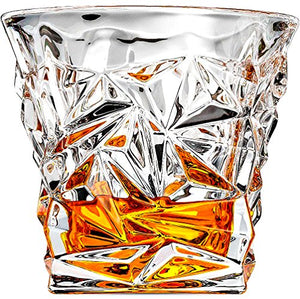 Diamond-Cut Whiskey Glasses 8oz, Set Of 2 - EK CHIC HOME