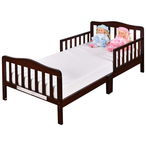 Toddler Bed, Wood Kids Bedframe Children Classic Sleeping Bedroom Furniture w/Safety Rail Fence - EK CHIC HOME