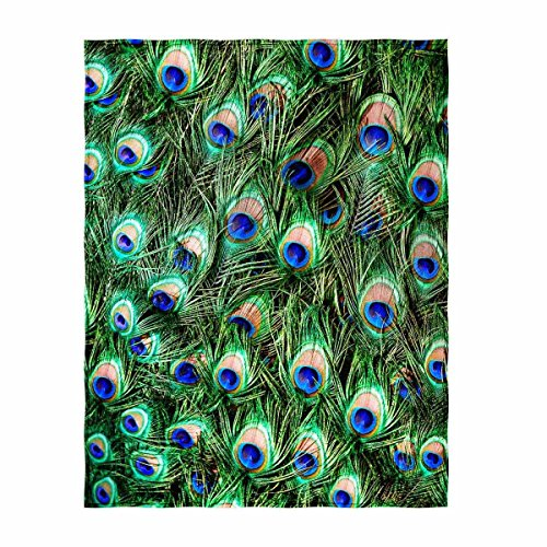 Peacock Feather Print Throw Blanket 58