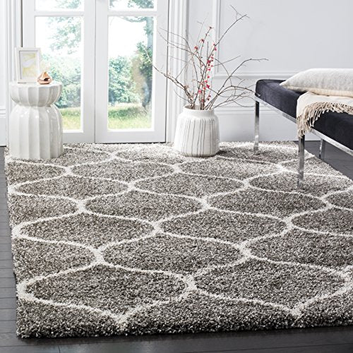 Hudson Shag Collection Grey and Ivory Moroccan Ogee Plush Area Rug (8' x 10') - EK CHIC HOME