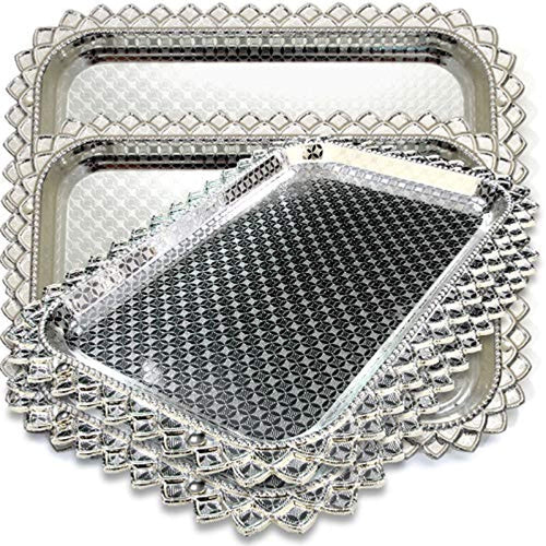 (Pack of 4) Rectangular Floral Engraved Chrome Mirror Serving Tray Victoria Design - EK CHIC HOME