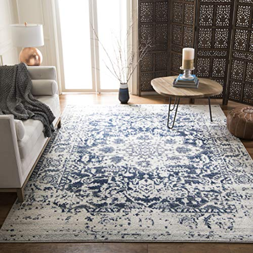 Madison Collection Cream and Navy Distressed Medallion Area Rug (8' x 10') - EK CHIC HOME