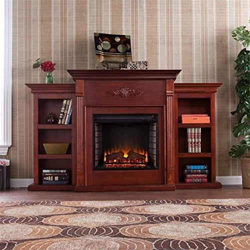 Tennyson Electric Fireplace with Bookcase, Classic Mahogany Finish - EK CHIC HOME