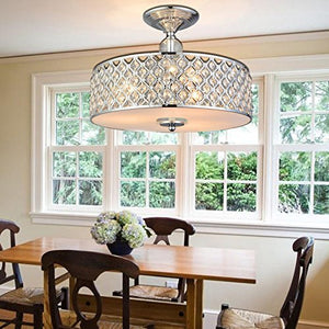 "Modern Crystal Raindrop Chandelier Lighting Flush mount LED Ceiling Light Fixture Pendant H11"" W15.4"" - EK CHIC HOME"