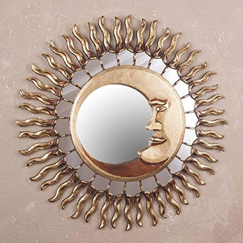 Sun and Moon Celestial Bronze Leaf Wall Mounted Mirror, Cuzco Eclipse' - EK CHIC HOME