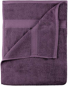 Premium 8 Piece Towel Set (Plum) - 2 Bath Towels, 2 Hand Towels and 4 Washcloths Cotton Hotel Quality - EK CHIC HOME