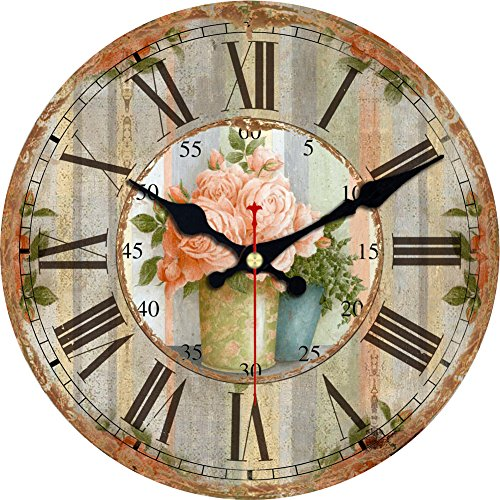 Flower Round Wall Vintage Country French Style Wooden Clock (6