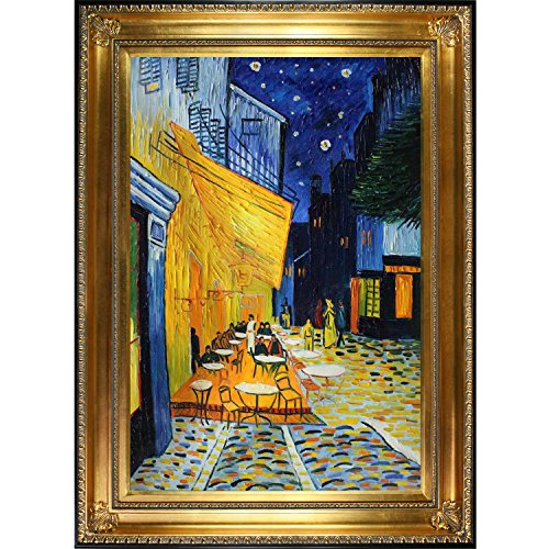 Cafe Terrace at Night by Vincent Van Gogh Hand Painted Oil on Canvas with Regency Gold Frame - EK CHIC HOME