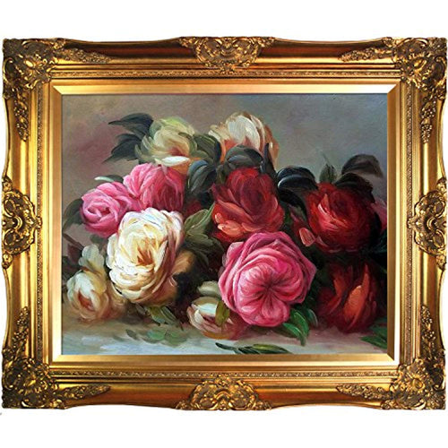 Renoir Discarded Roses Artwork with Victorian Gold Frame Finish - EK CHIC HOME