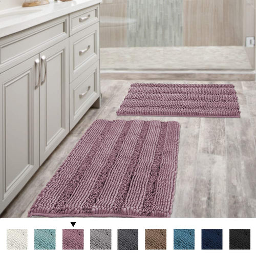 VERSAILTEX Non Slip Thick Shaggy Chenille Bathroom Rugs, Bath Mats for Bathroom Extra Soft and Absorbent - EK CHIC HOME