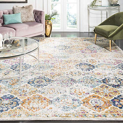Madison Collection Cream and Multicolored Bohemian Chic Distressed Area Rug (5'1