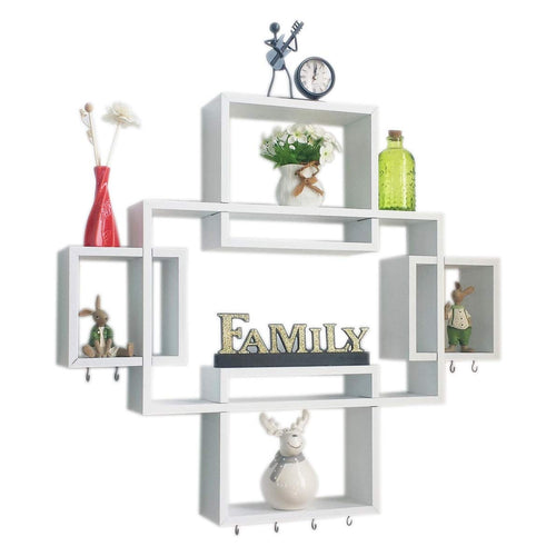 Set of 5 Cubes with Free Extra Jewellery Hooks Interlocking Wall Shelf - EK CHIC HOME