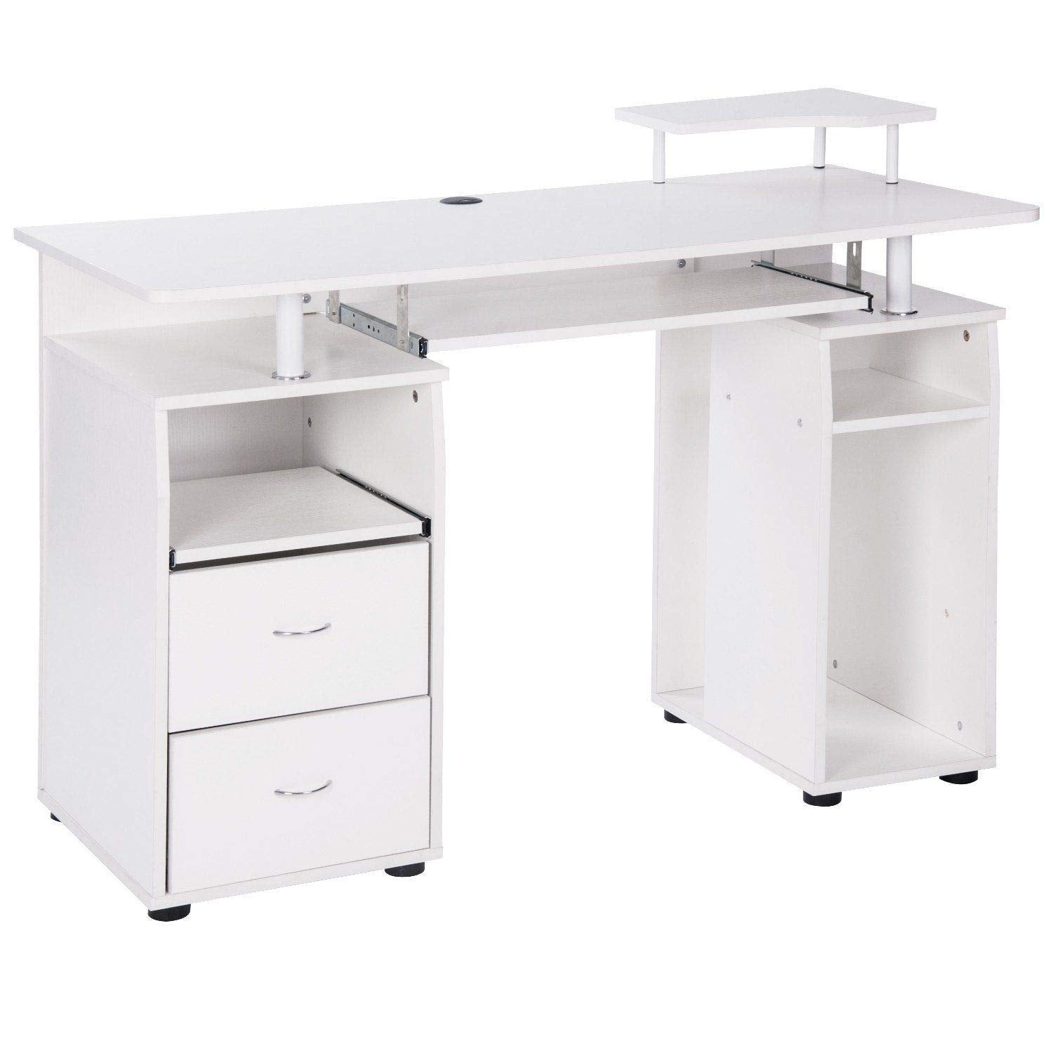 Home Office Computer Desk With Pull Out Keyboard Tray And Drawers Ek Chic Home