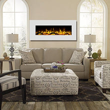 "Load image into Gallery viewer, Ashford White 50"" Log Ventless Heater Electric Wall Mounted Fireplace - EK CHIC HOME"