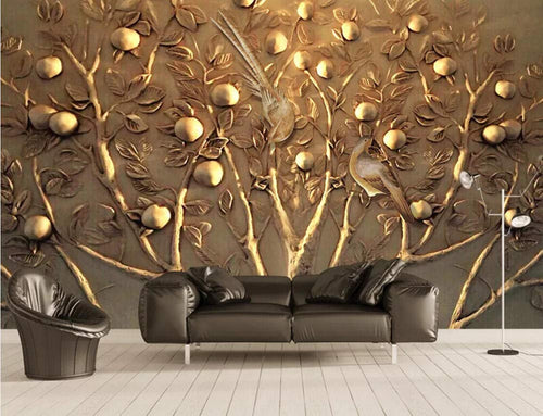 Wall Mural 3D Wallpaper Embossed Golden Tree Fruit Wall Decoration Art - EK CHIC HOME