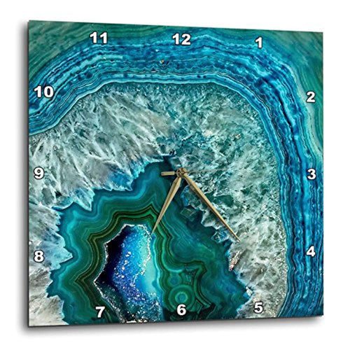 Luxury Marble Agate Gem Mineral Stone Wall Clock, 13
