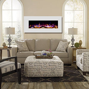 "Ashford White 50"" Log Ventless Heater Electric Wall Mounted Fireplace - EK CHIC HOME"