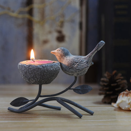 Vintage Home Decor Centerpiece, Iron Branches, Resin Bird and Nest, Candle Stands - EK CHIC HOME