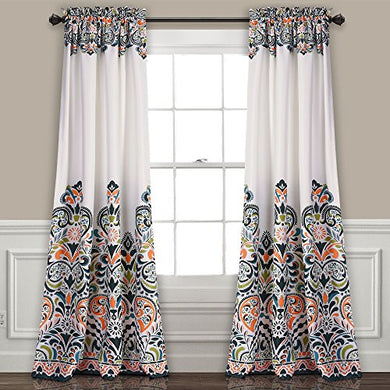 "Paisley Damask Print Bohemian Style Room Darkening Window Panel Set 95"" x 52"" - EK CHIC HOME"
