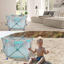Load image into Gallery viewer, Playpen Pop N' Portable Playard for Babies/Toddler/Newborn/Infant with Travel Bag,6-Panel,More Protect,More Funny Time [ Blue ] - EK CHIC HOME