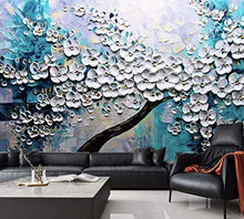 Load image into Gallery viewer, Floral Wallpaper Embossed Oil Painting Blossom Wall Mural 3D Flower Wall Art - EK CHIC HOME