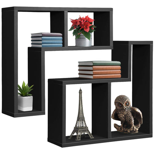 Sorbus Floating Shelf L-Shaped Set — L-Ledge Wall Shelves with 2 Openings, - EK CHIC HOME