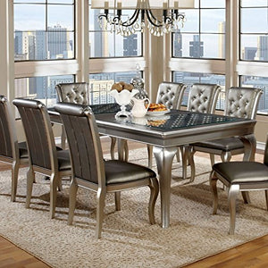 Chic Daniese Contemporary Silver 9 Piece Dining Set - EK CHIC HOME