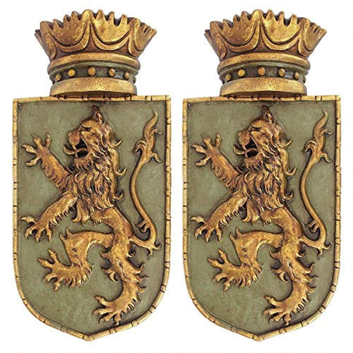 Medieval Rampant Lion Crest Medieval Decor Wall Sculpture - Set of Two, 14 Inch - EK CHIC HOME