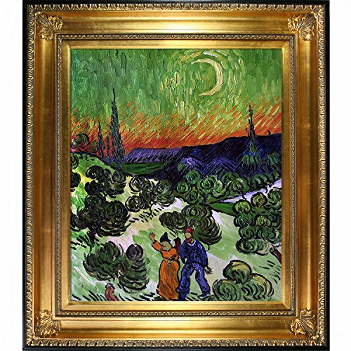 Landscape with Couple Walking and Crescent Moon Artwork by Van Gogh with Regency Gold Frame - EK CHIC HOME
