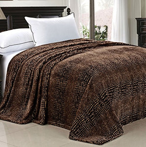 Light Weight Animal Safari Style Printed Flannel Fleece Blanket (Queen) - EK CHIC HOME