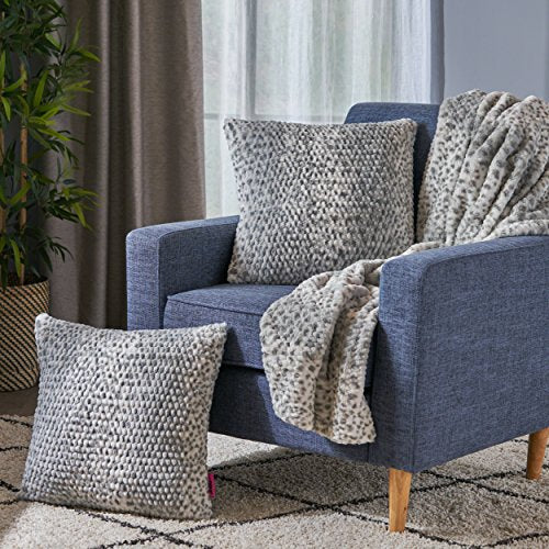 Silver Dusk Faux Furry Pillows and Throw Blanket Combo (Set of 3) - EK CHIC HOME
