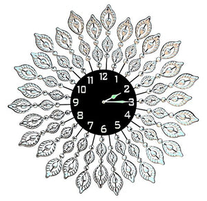 "Leaf Metal Wall Clock, Black Glass Dial Diameter 25""(Crystal Clock Black) - EK CHIC HOME"