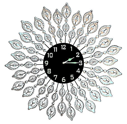 Leaf Metal Wall Clock, Black Glass Dial Diameter 25