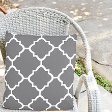 Load image into Gallery viewer, Decorative Square 18 x 18 Inch Throw Pillow - Grey Moroccan Quatrefoil - EK CHIC HOME