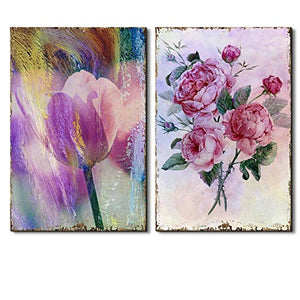2 Beautiful Tulip on a Brush Stroke Background Paired with Watercolor Bouquet - Canvas Art - EK CHIC HOME