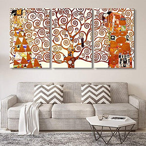 3 Panel World Famous Painting Reproduction on Canvas Wall Art - Tree of Life by Gustav Klimt - EK CHIC HOME