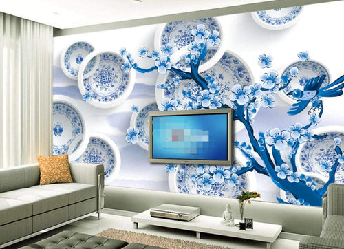 Wall Mural 3D Wallpaper Blue Porcelain Disc Flower Modern Minimalist Wall Decoration Art - EK CHIC HOME
