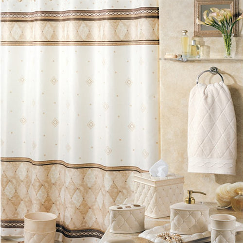 Corinthia Beige Shower Curtain - EK CHIC HOME