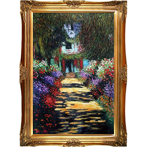 Hand-Painted Reproduction of Claude Monet Garden Path at Giverny Framed Oil Painting, 24 x 36 - EK CHIC HOME