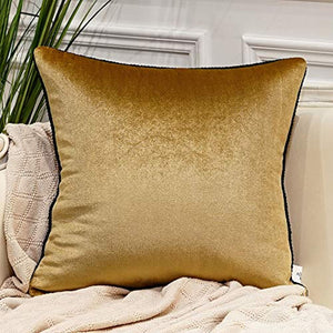 Gold Pack of 2 Luxury Velvet Soft Decorative Square Throw Pillow Covers -24 x 24 - EK CHIC HOME