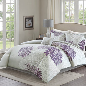 5 Piece Purple, Grey Floral Printed Full/Queen Size - EK CHIC HOME
