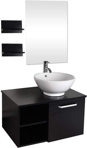 28 Inch Bathroom Vanity and White Ceramic Sink Combo with Mirror Faucet - EK CHIC HOME