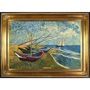Van Gogh Fishing Boats on the Beach at Saintes, Maries Painting with Regency Gold Finish Frame - EK CHIC HOME